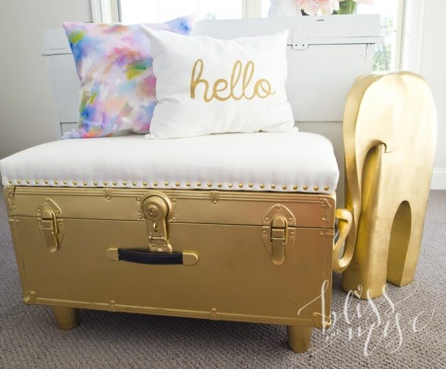 Incredible Golden Gilded Upcycled Trunk