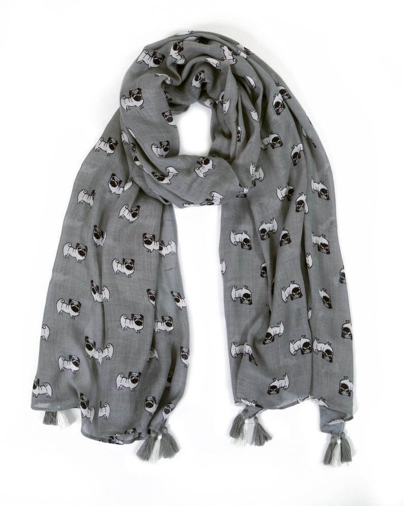 Chic Pug Scarf with Tassels