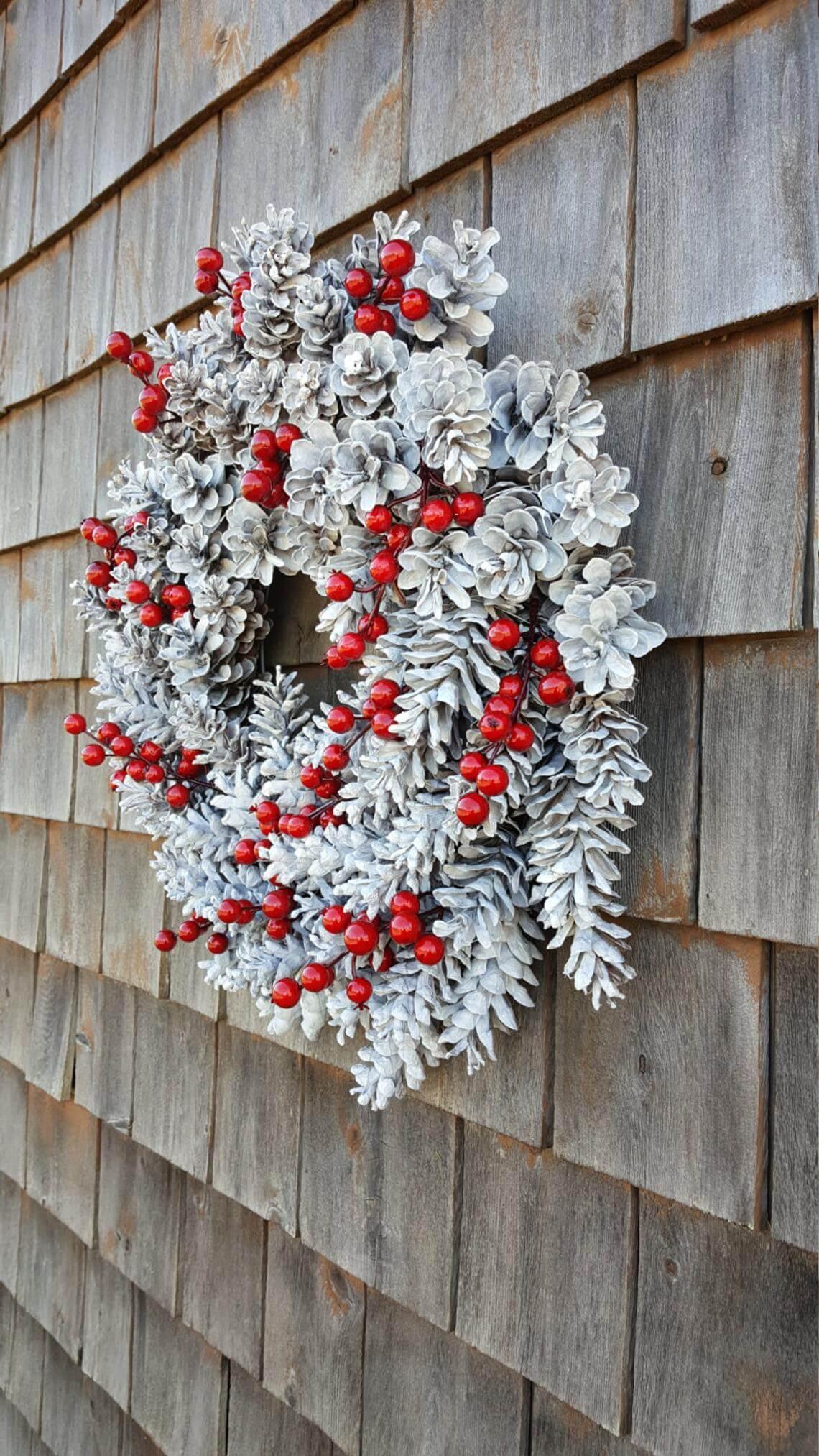 Pinwheel Red and White Pine Cone Wreath