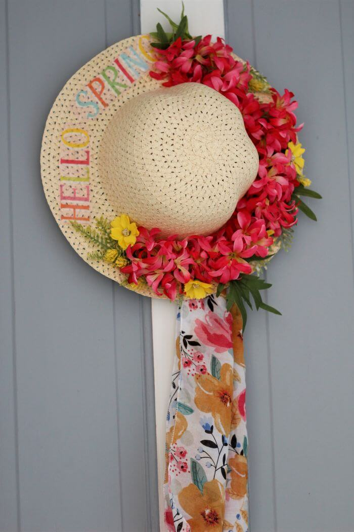 Hello Spring Straw Hat with Flowers