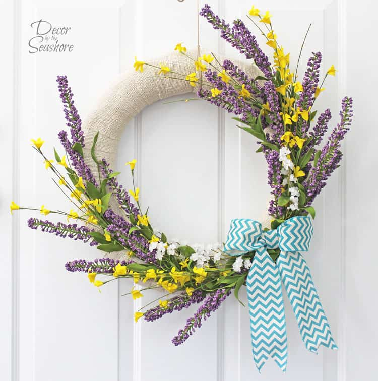 Burlap Wrapped Wreath with Spring Flowers