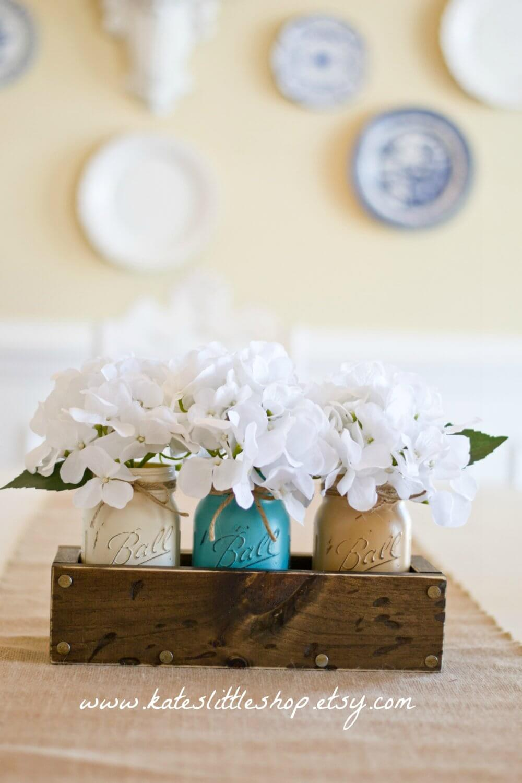 Triple Painted Jar Rustic Wood Planter Box