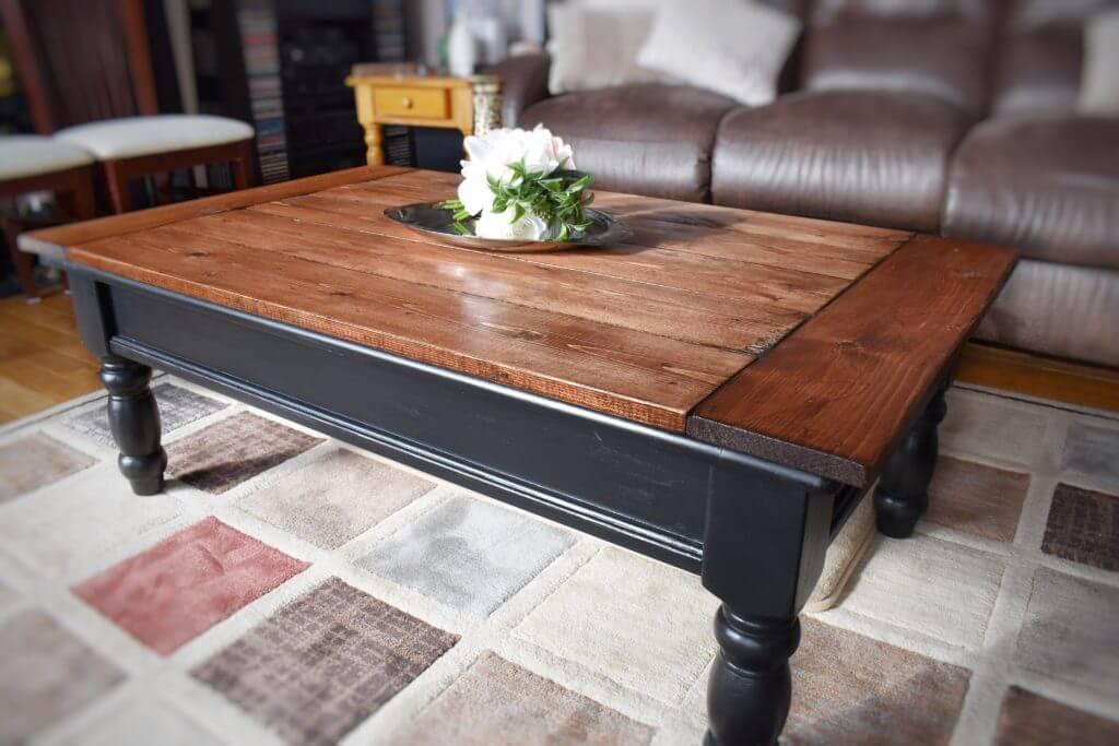 Two-Toned Rustic Coffee Table Design