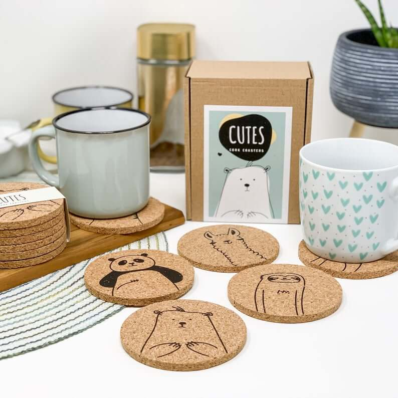 Cute Critters Cork Coaster Set of Six