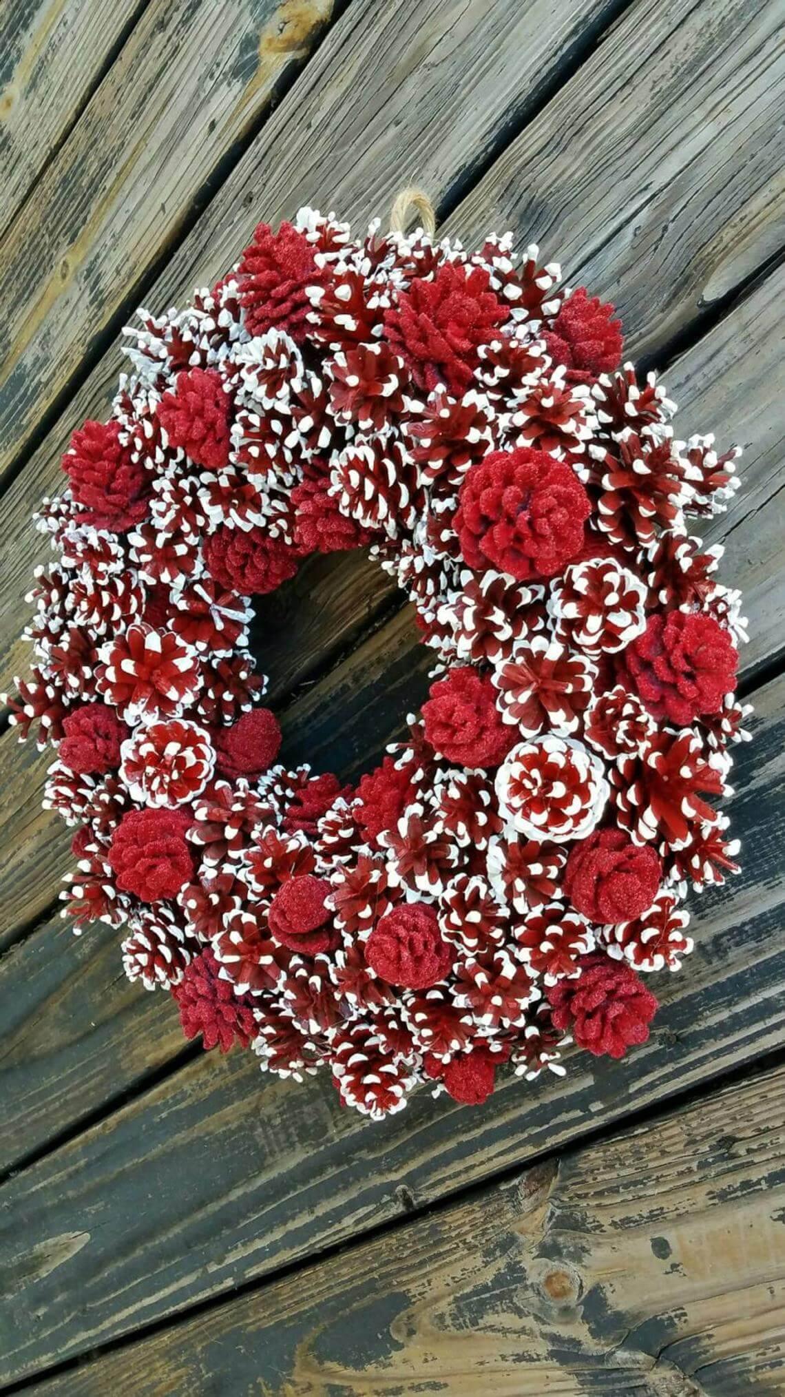 Unique Crimson and White Painted Pine Cone Wreath