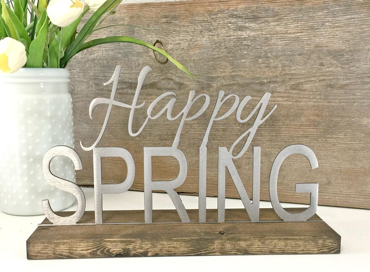 Modern Steel 'Happy Spring' Sign