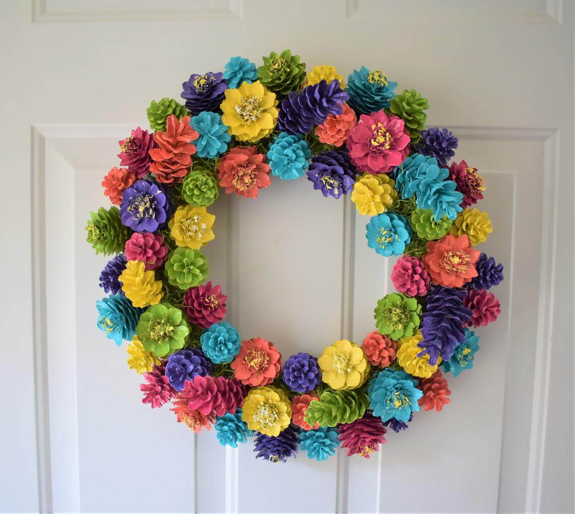 Colorful Pine Cone Flower Wreath