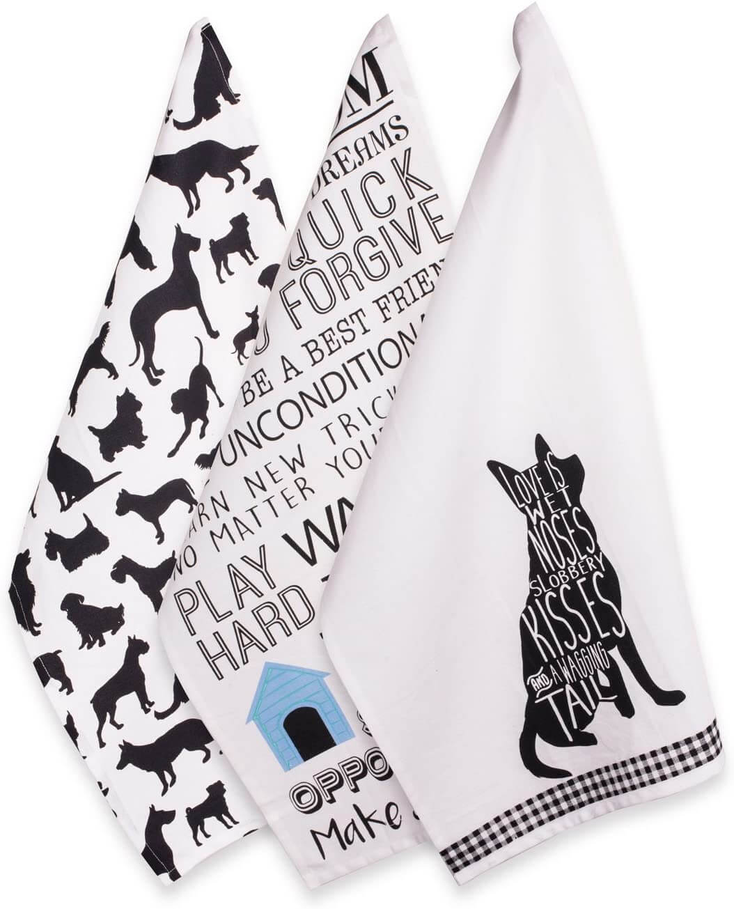 Black and White Dog Silhouette Dish Towels