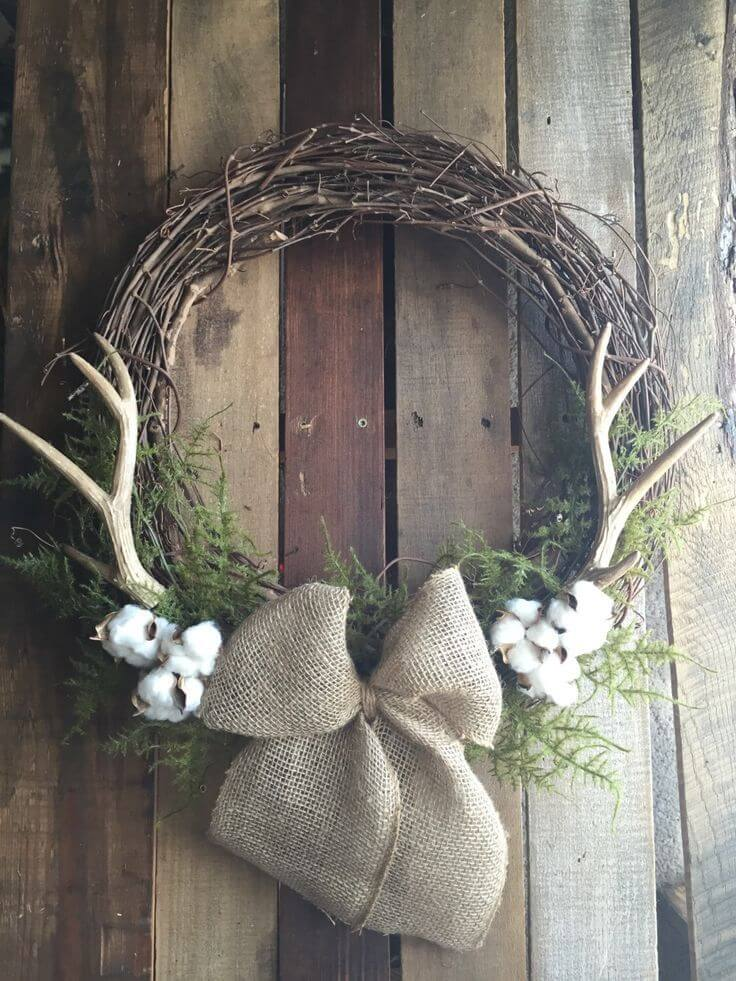Unique Wreath with Antler Branches and Cotton
