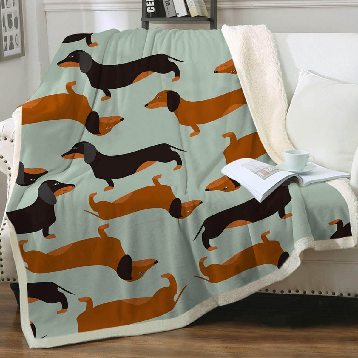 Stylized Dachshund Fleece Blanket