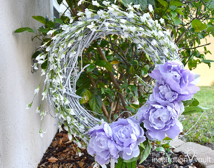 White Grapevine Wreath with Lavender Blooms