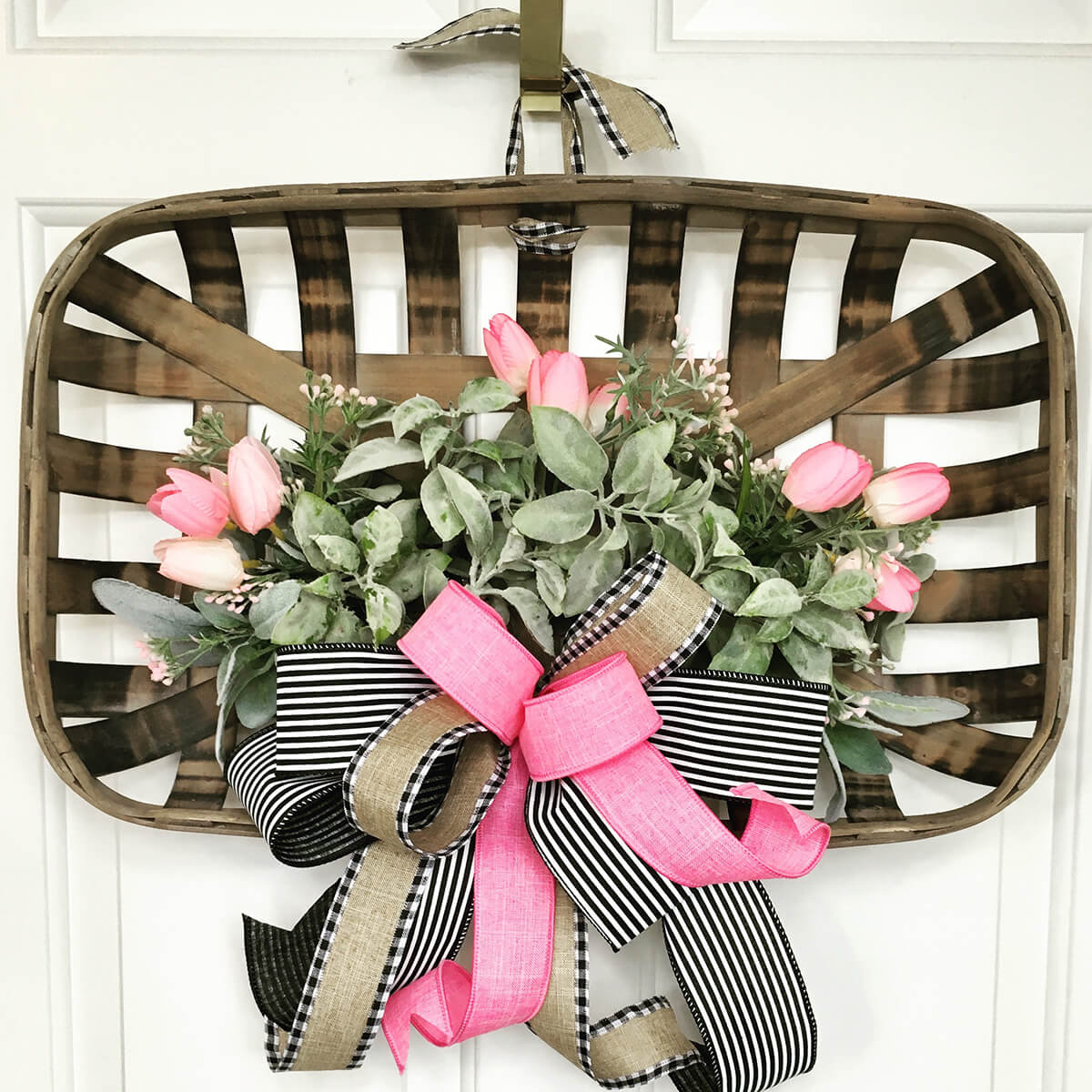 Classy Spring Flower and Ribbon Basket