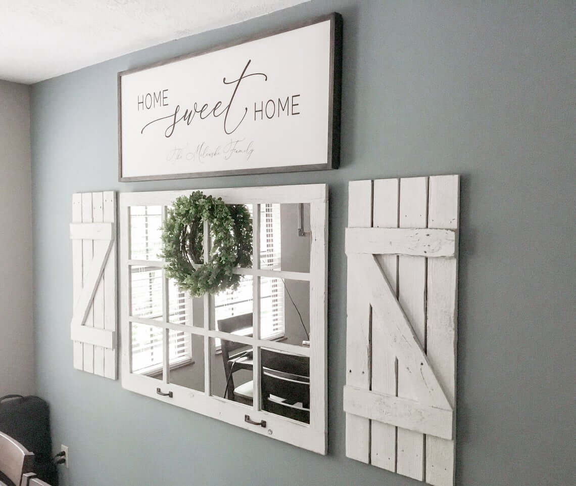 Vintage Window Mirror with Farmhouse Shutter Accents