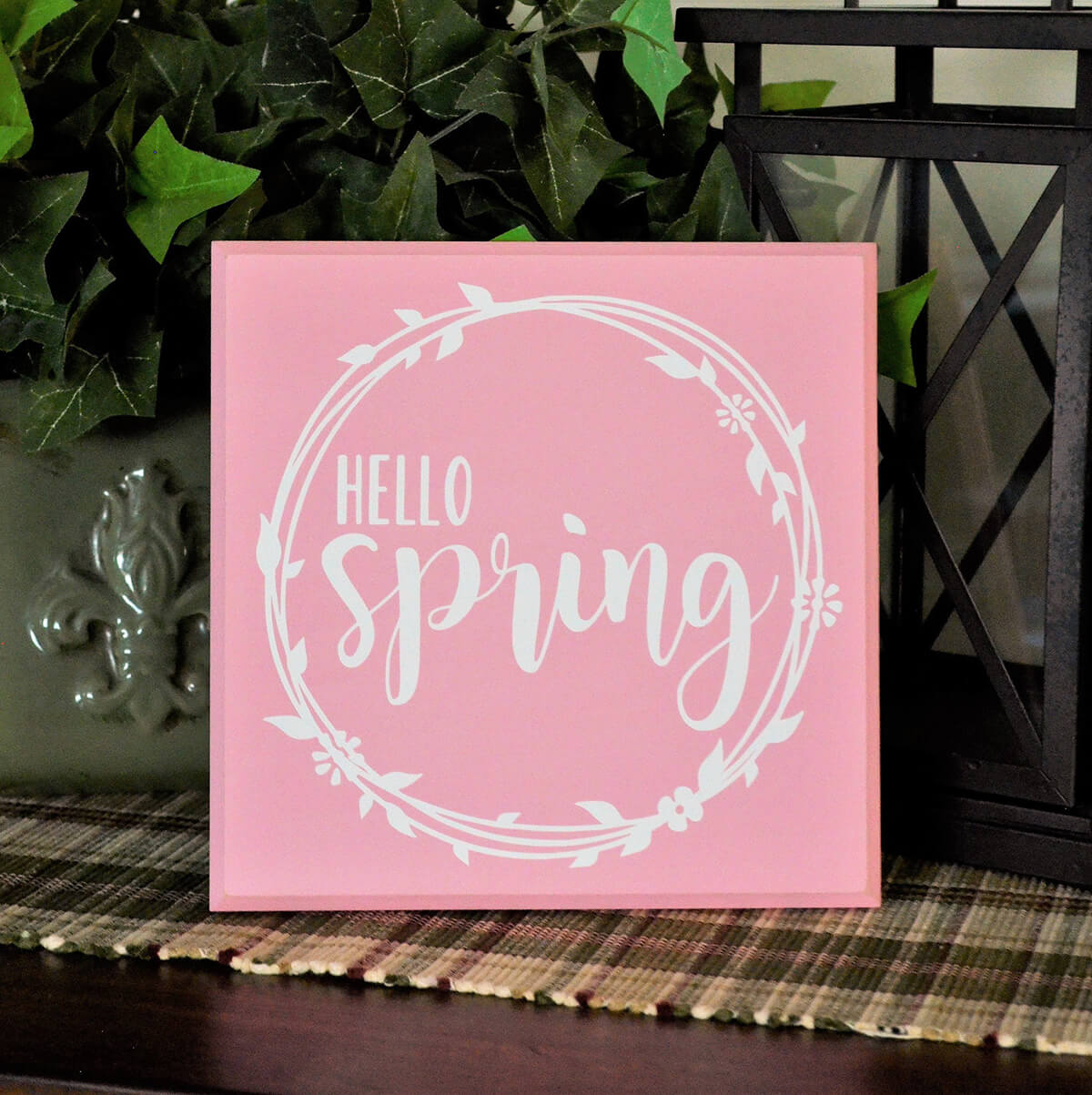 Decorative Hello Spring Painted Vinyl Sign