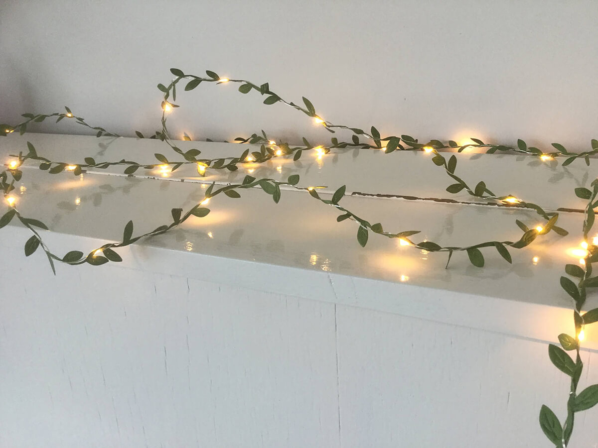 Fairy Lights and Green Leaves Garland