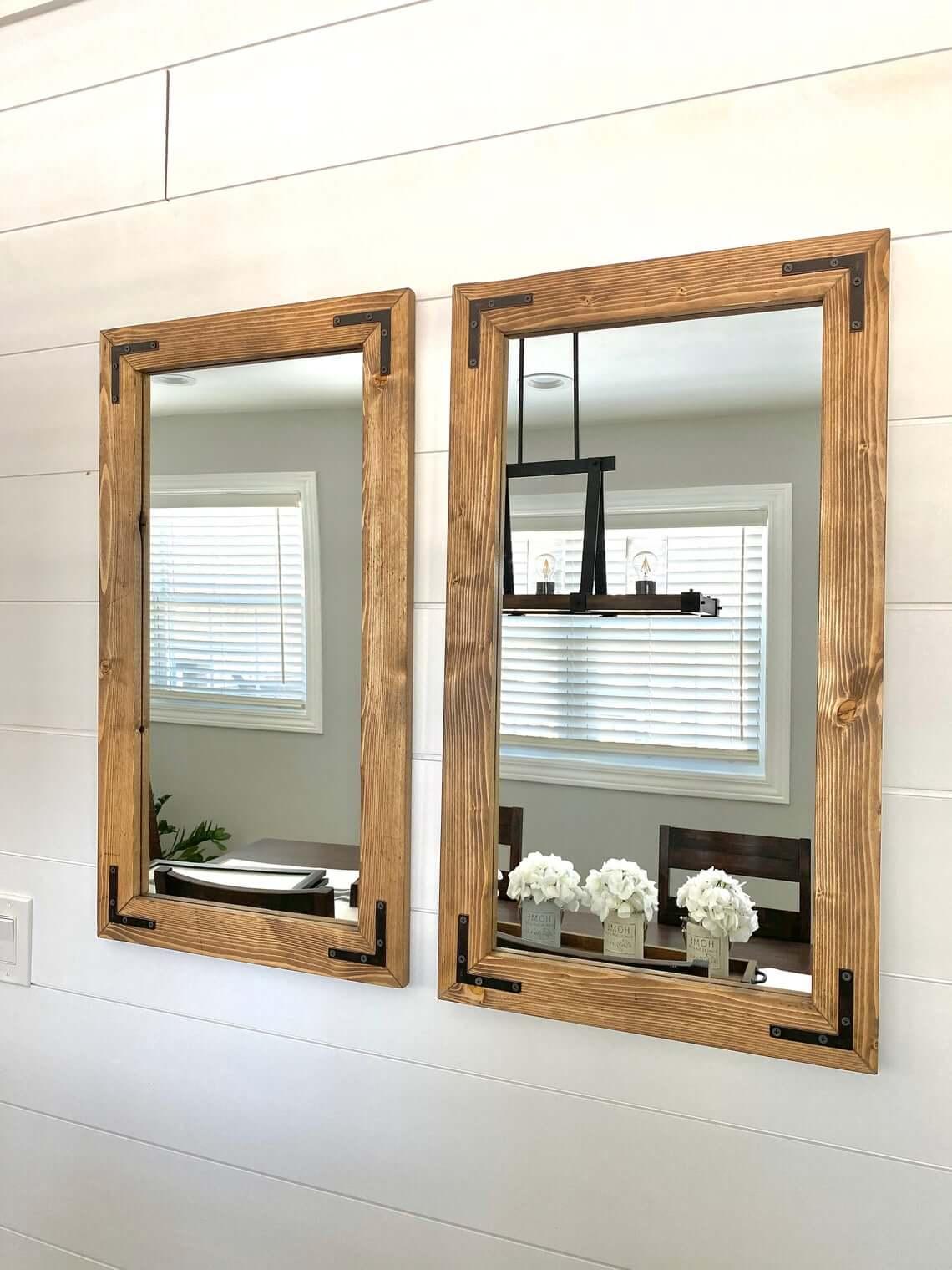 Double Your Fun Wood Farmhouse Mirror Duo