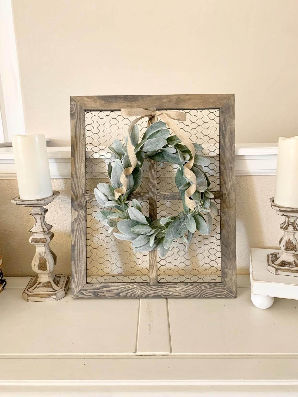 Chicken Wire Window Pane and Wreath