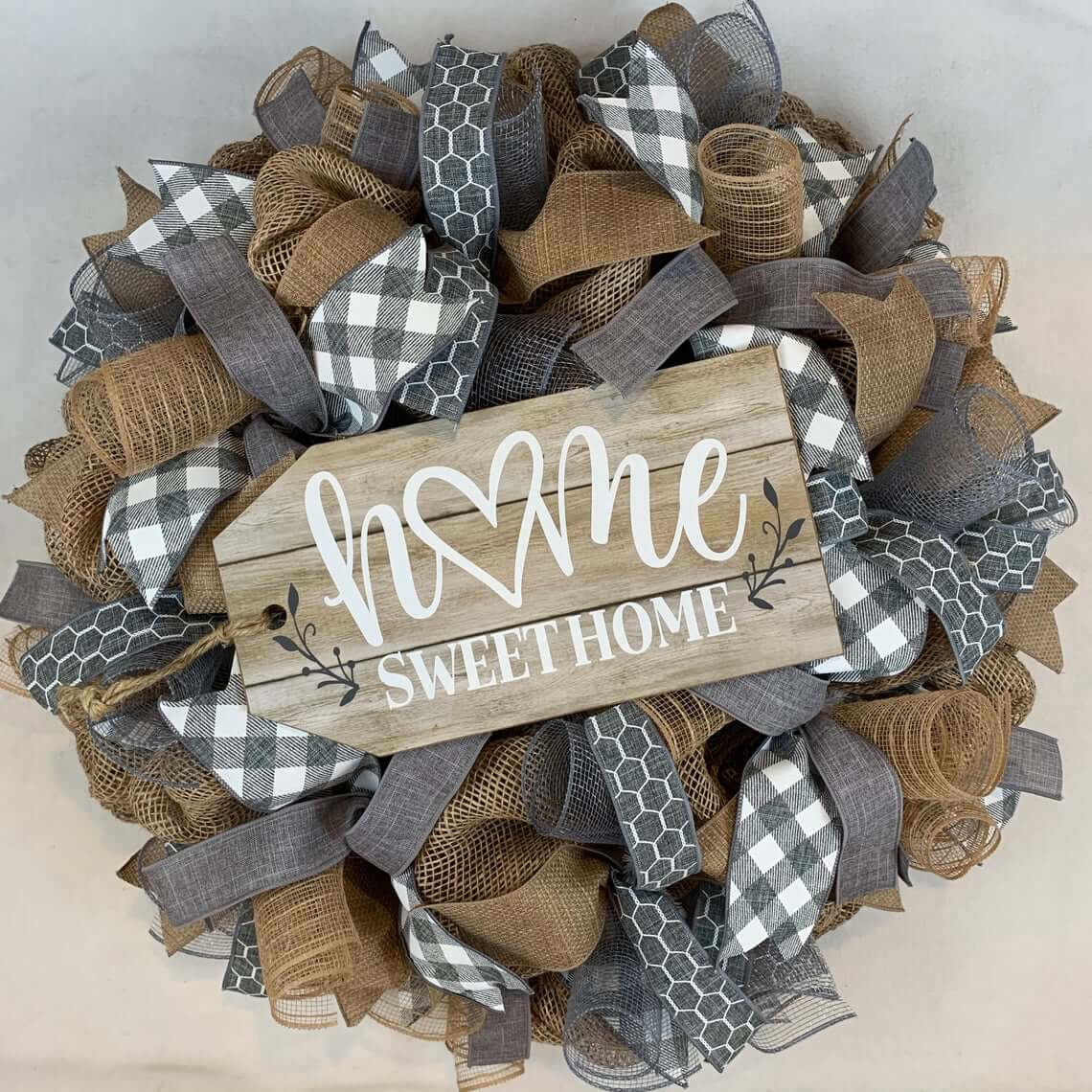 Burlap and Ribbon Home Sweet Home Wreath