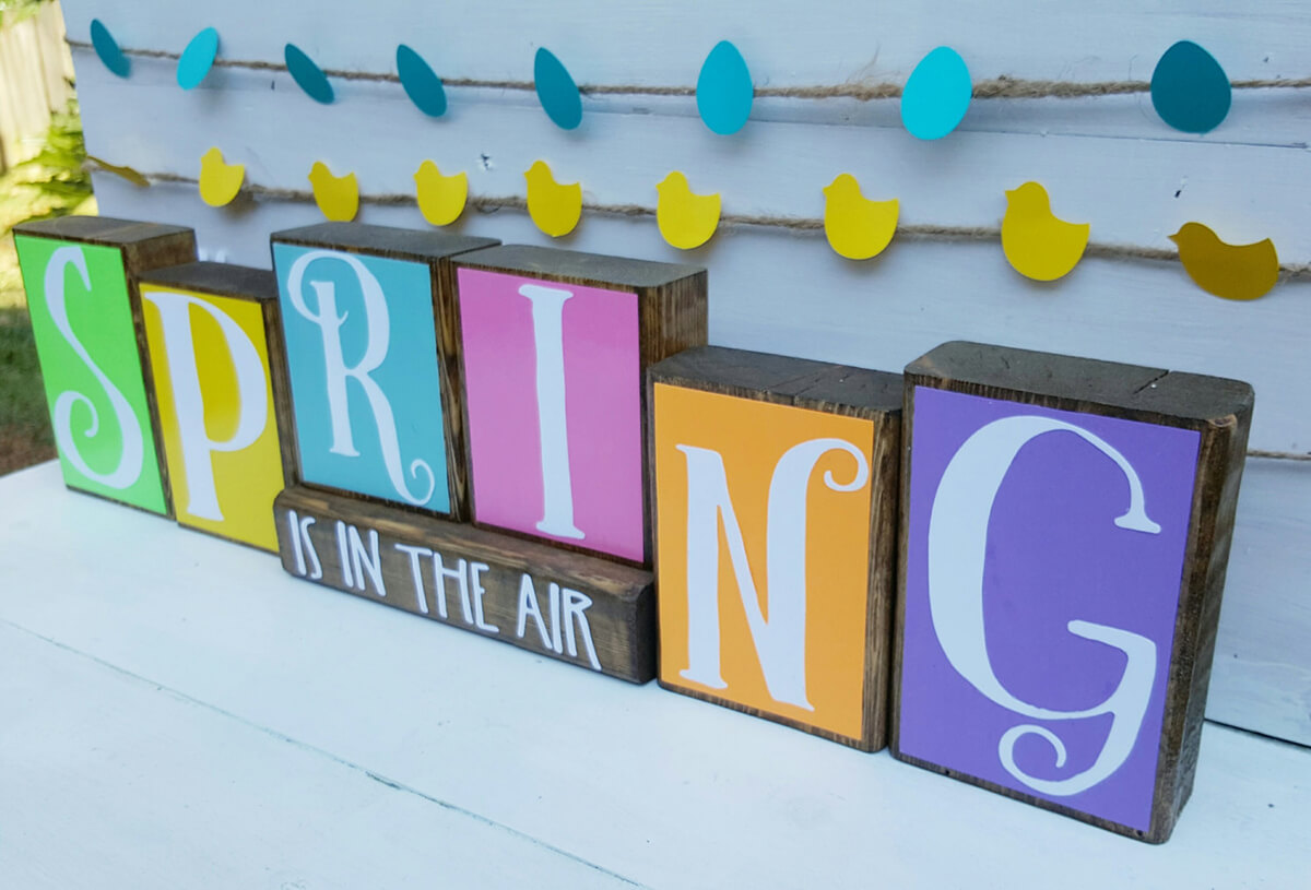 Colorful Wood Blocks for Spring