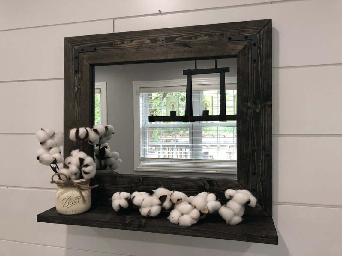 Rich Dark Wood Mirror with Built-In Shelf