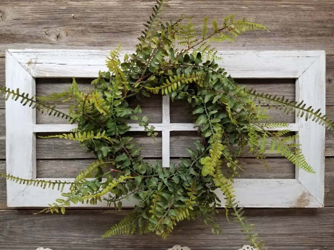 Wild Wilderness Fern Wreath on White Window