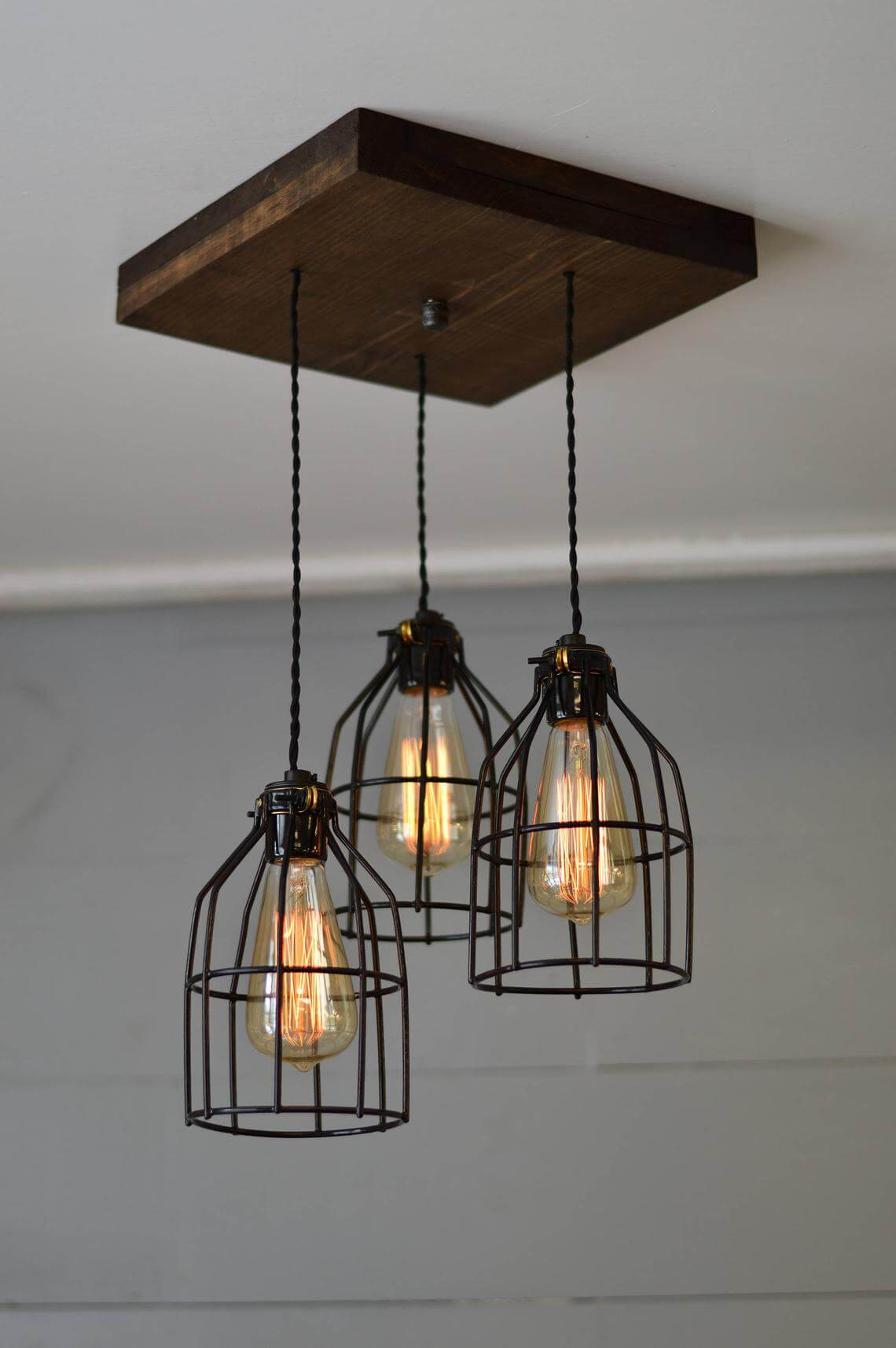 Triple Pendant Wooden Farmhouse Chandelier