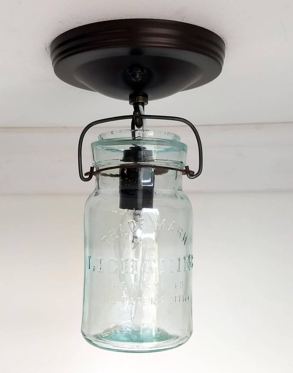 Vintage Mason Jar Ceiling Light