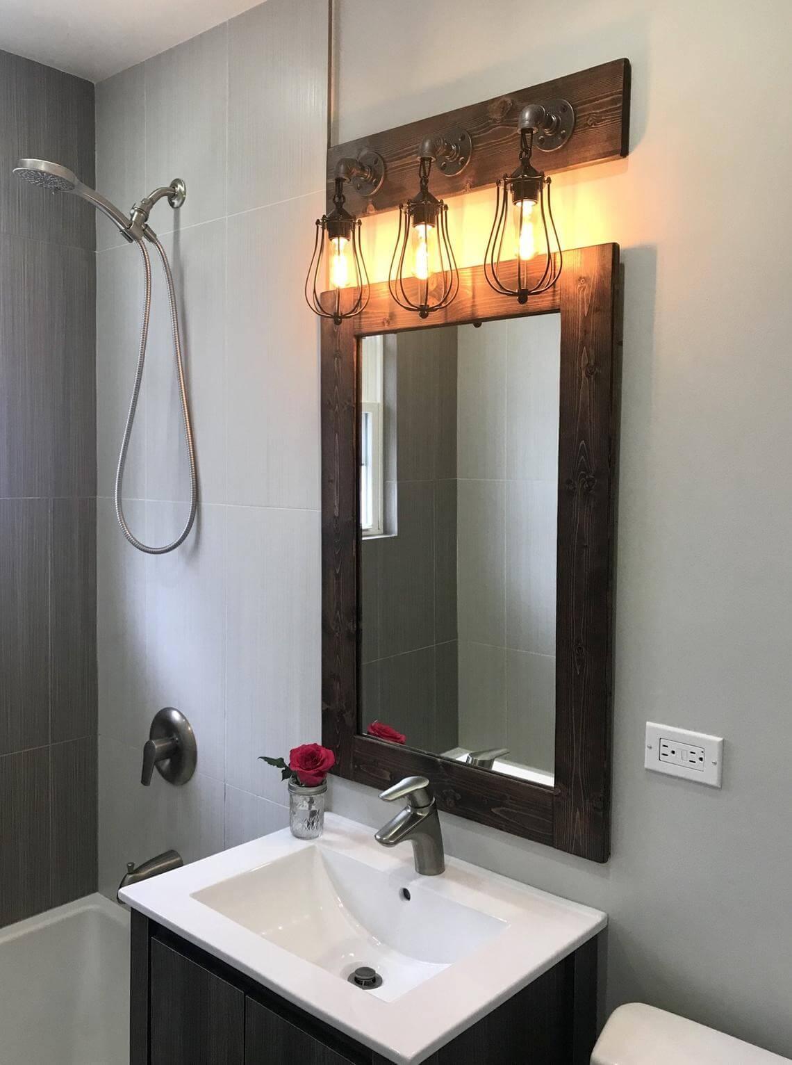 Caged Bathroom Vanity Lighting Fixture Set