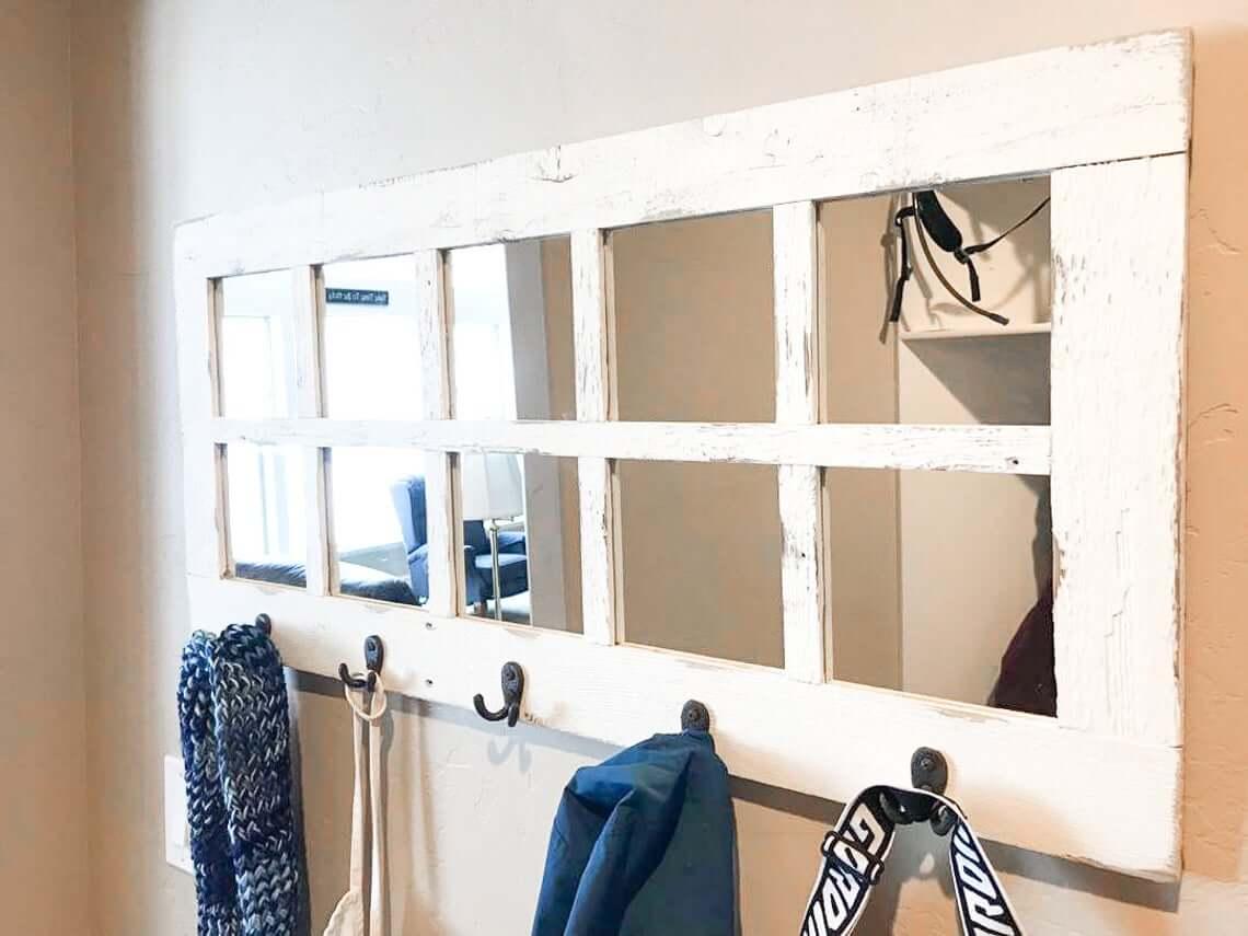 Hallway Hooks White Window Pane Mirror