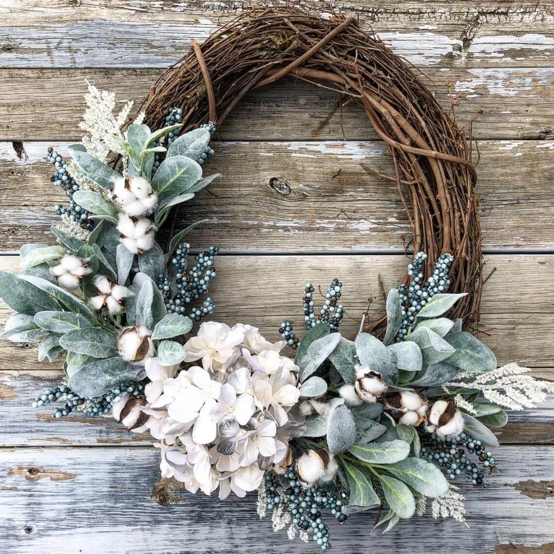 Beautiful Seafoam and Turquoise Grapevine Wreath