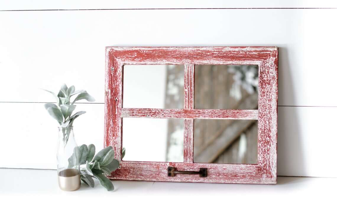 Small Distressed Red Mirrored Window Pane