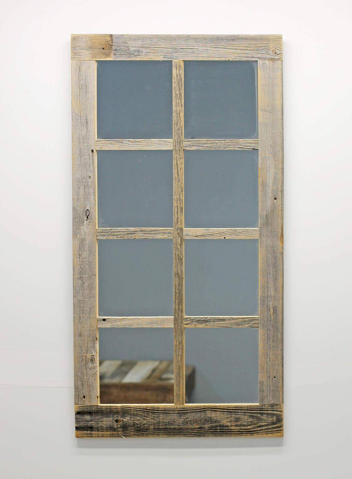 Beige and Gray Barnwood Window Mirror