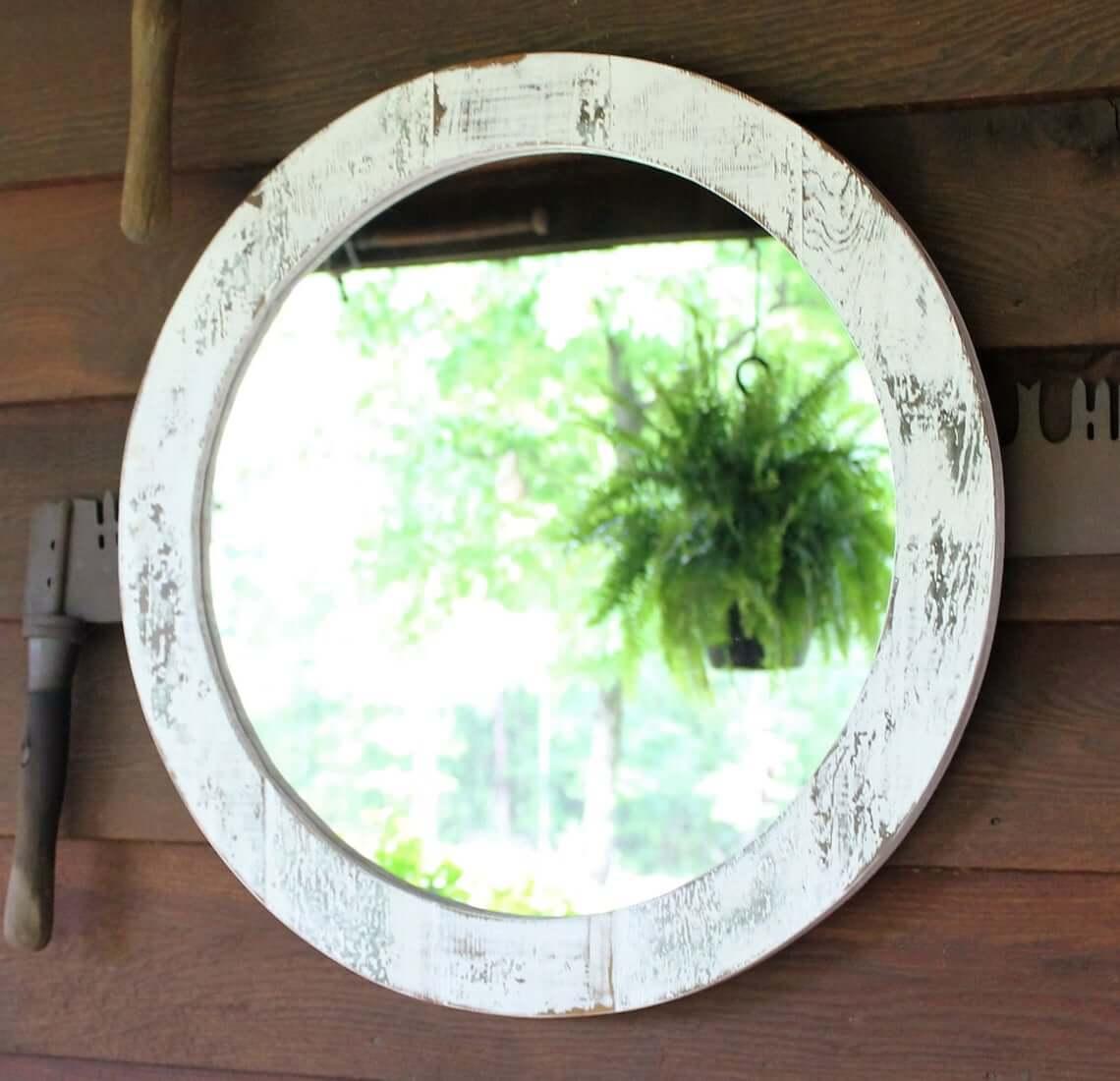 Round White Washed Finish Decorative Mirror