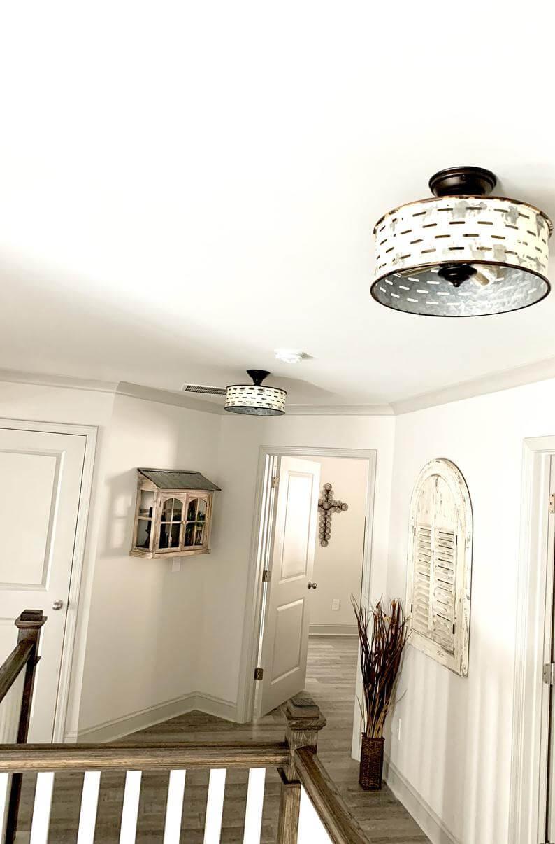 Farmhouse Style Galvanized Flush Mount Ceiling Light