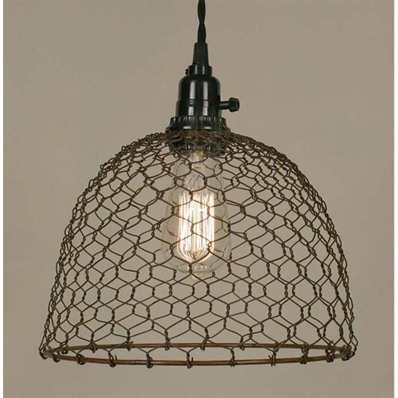Metal Chicken Wire Domed Pendant Lamp