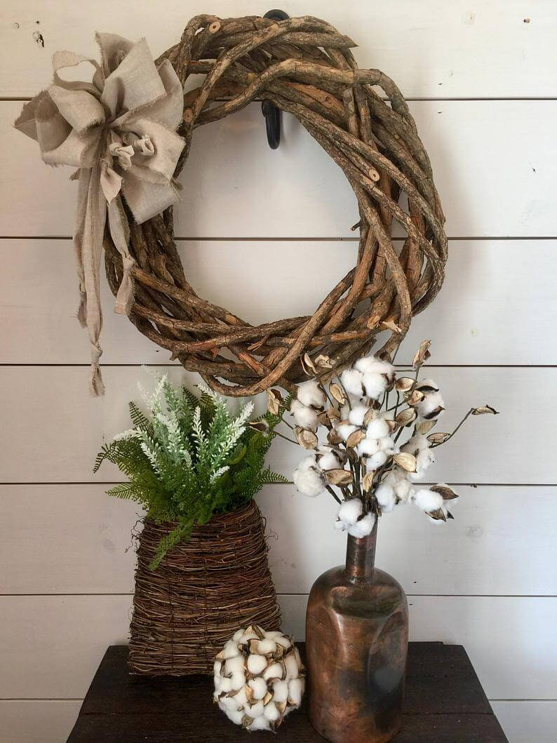 Rustic Wooden Wreath with Shabby Chic Bow