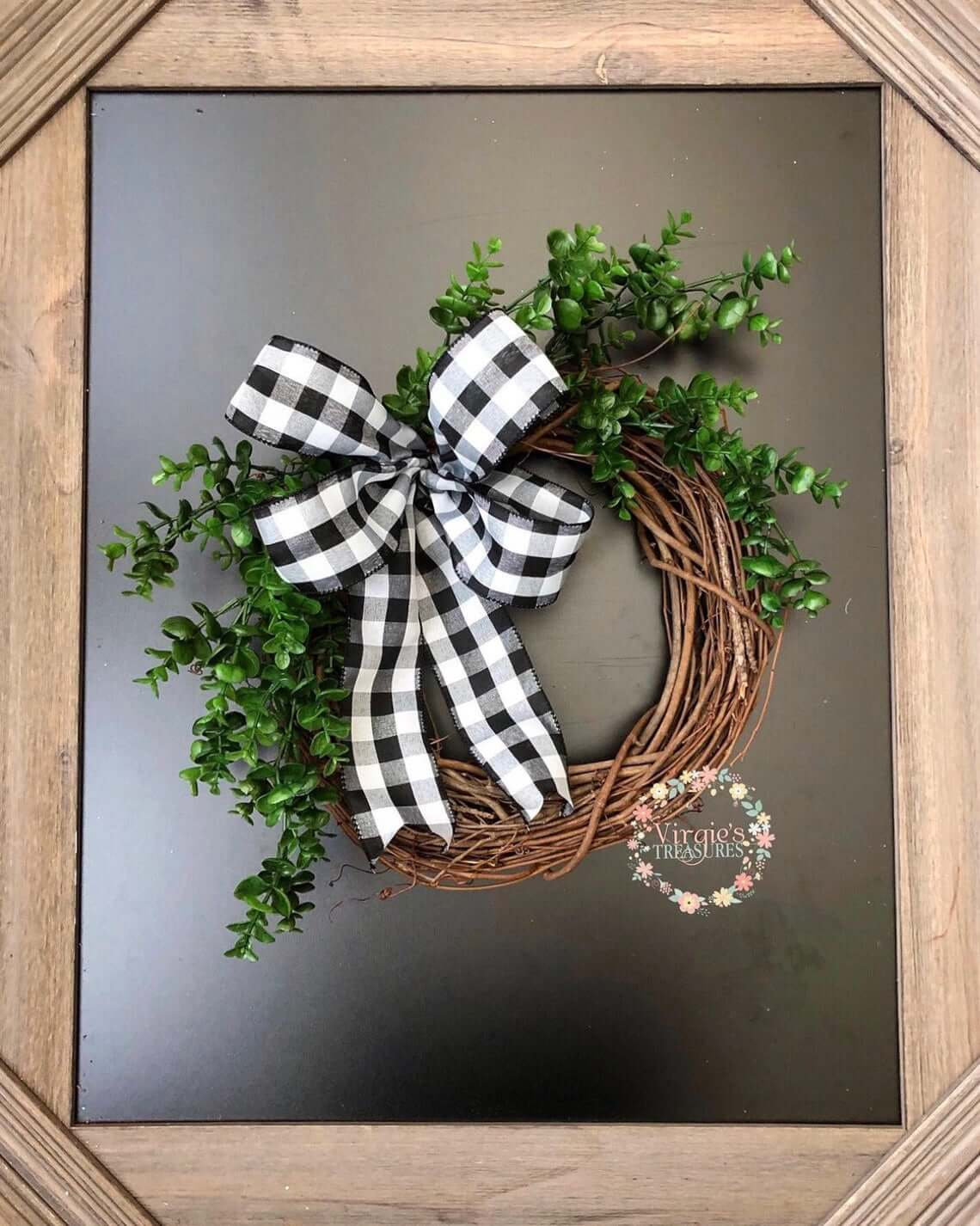 Great Grapevine Wreath with Plaid Bow