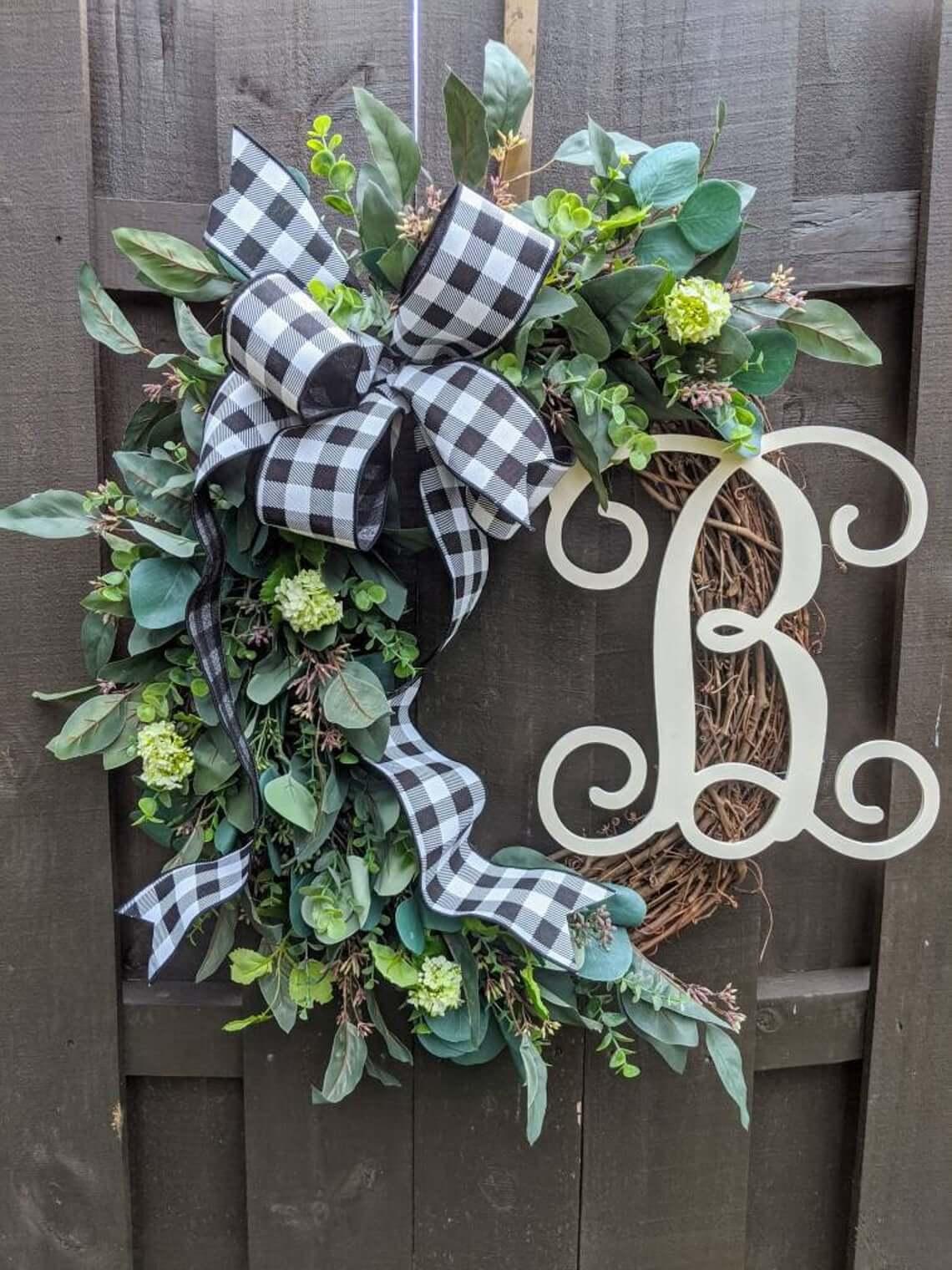 Grand Greenery and Grapevine Monogrammed Wreath