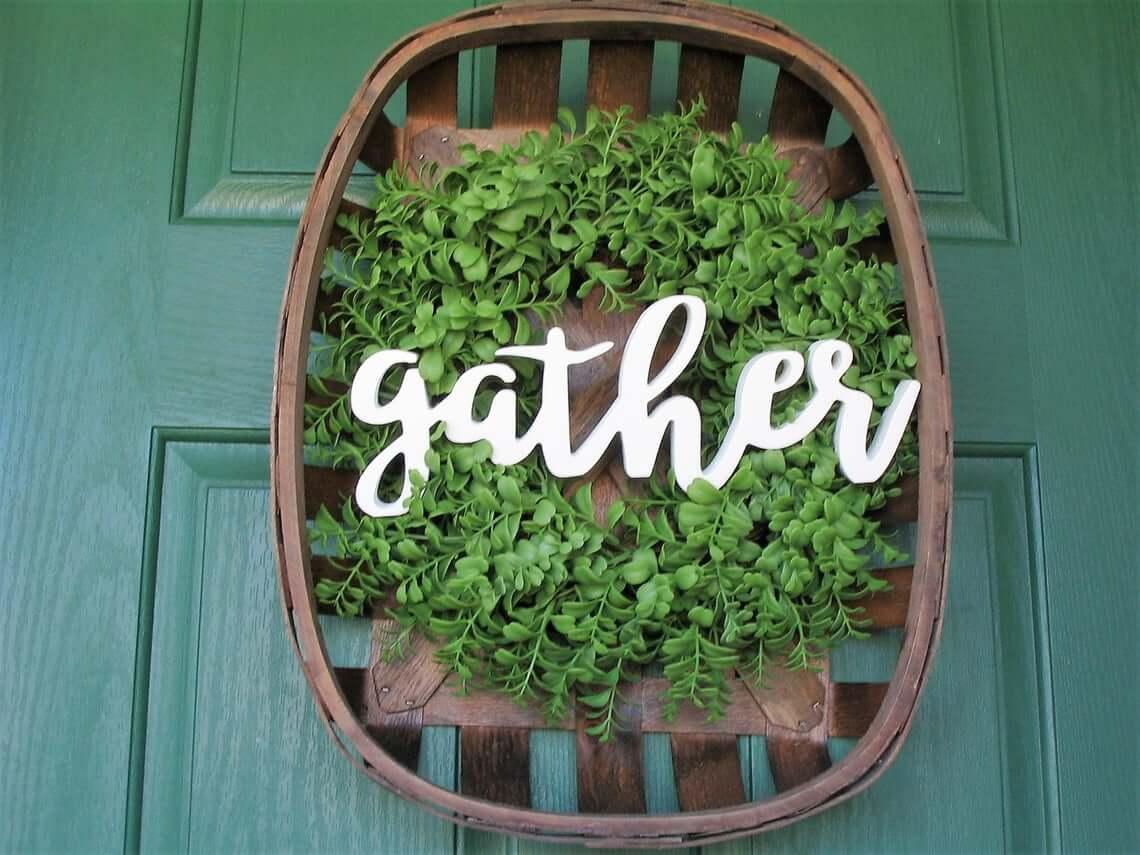 Gather Basket Wreath with Greenery