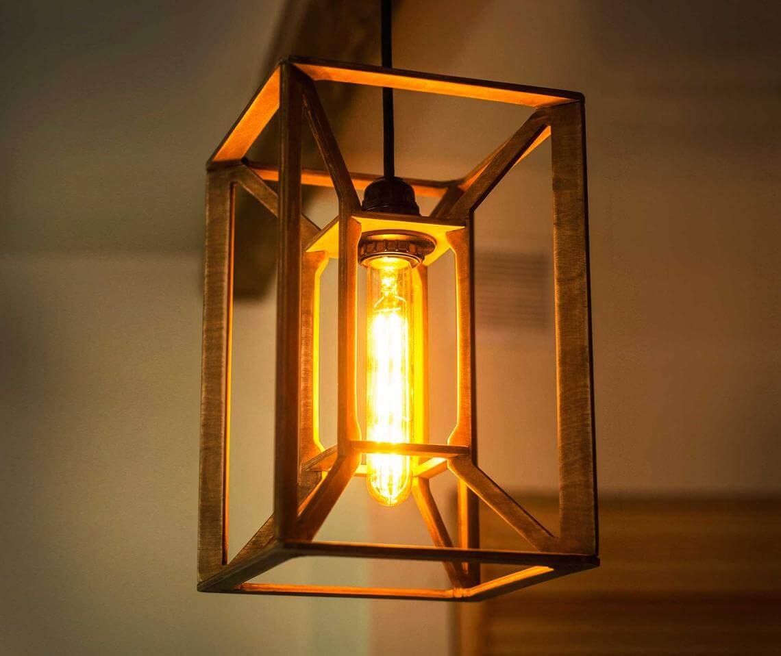 Contemporary Industrial Wooden Ceiling Light