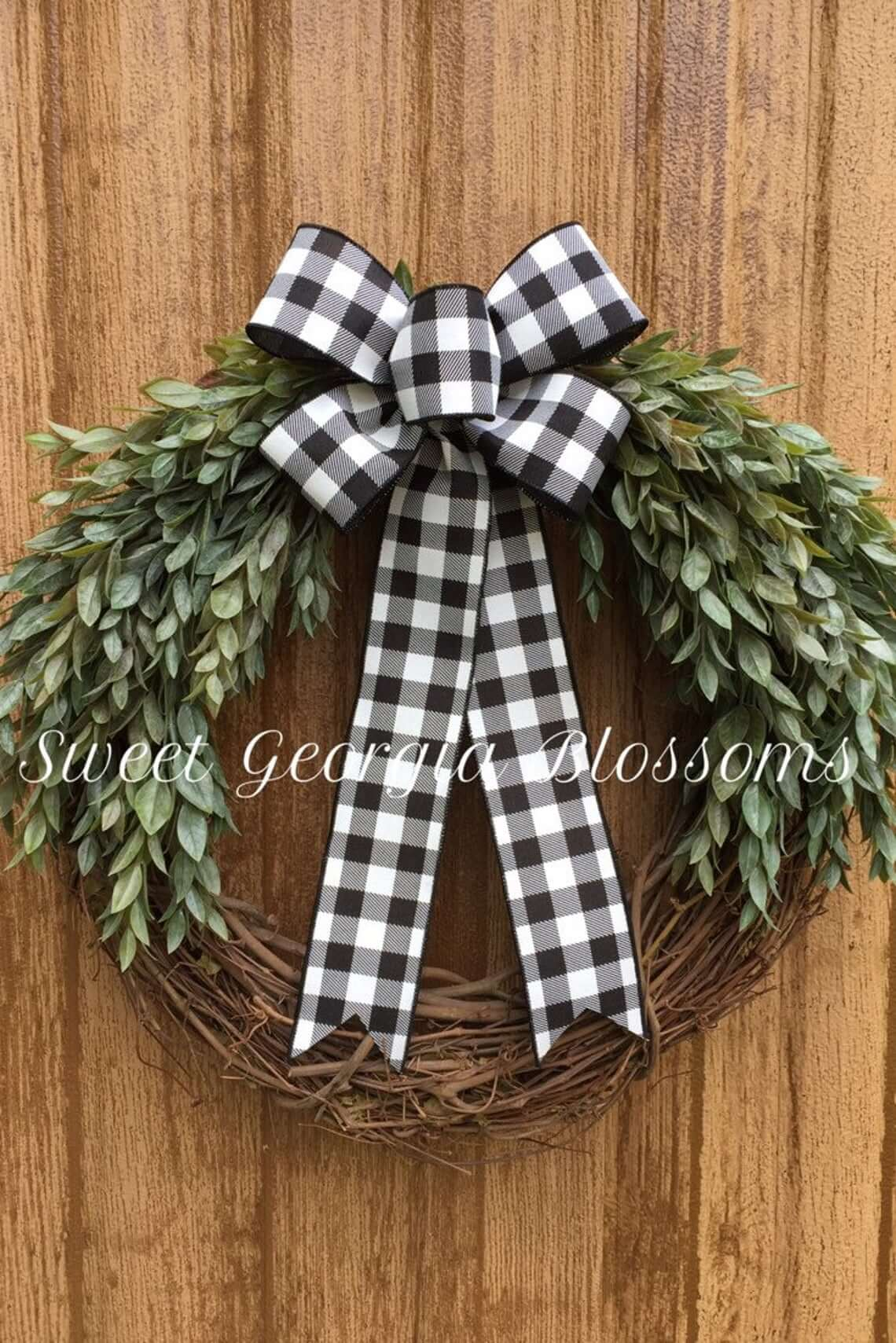 Big Bow Grapevine and Greenery Wreath