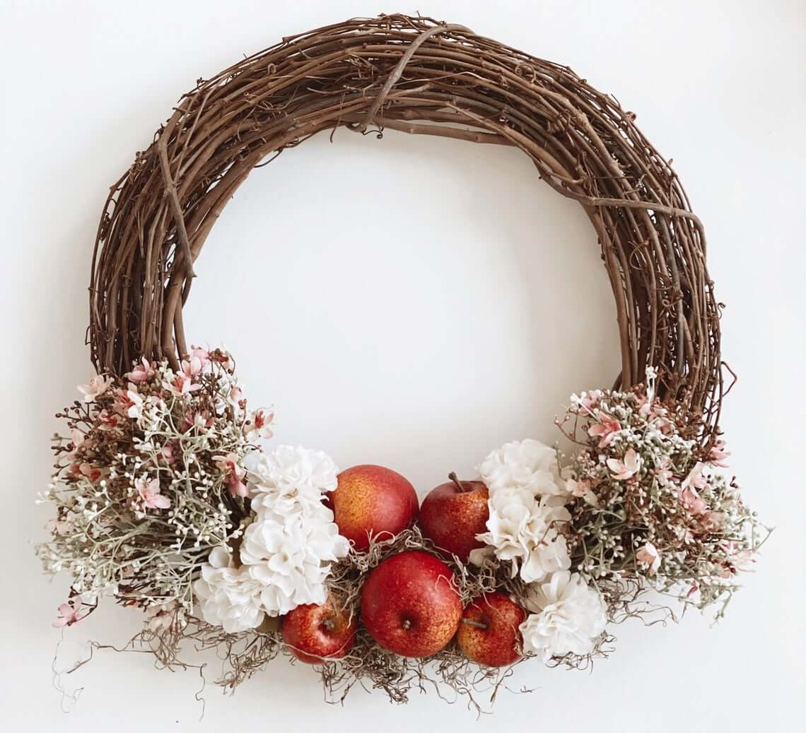 Rustic Victorian Flowers and Apple Wreath
