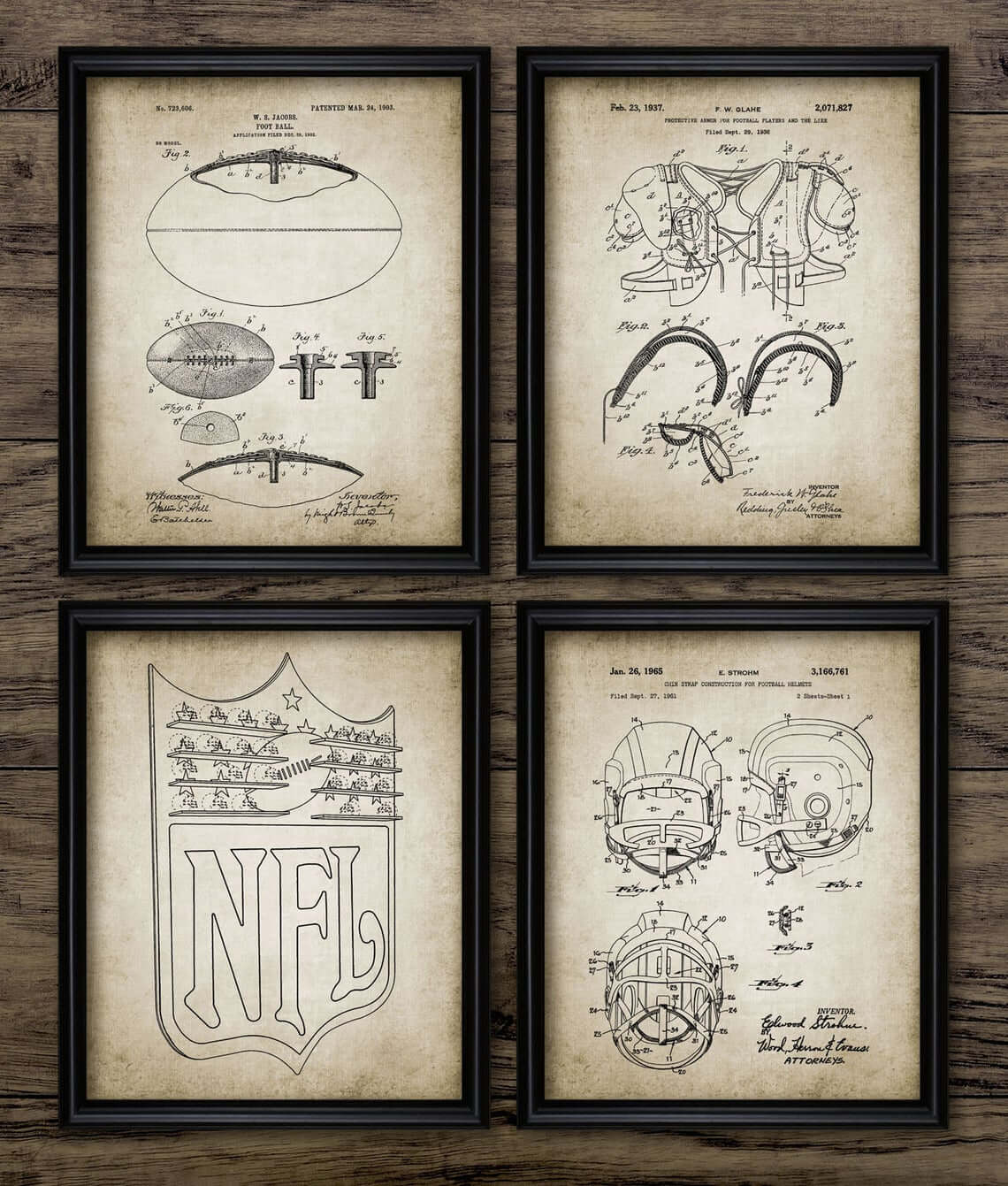 Four Vintage NFL Blueprint Sketch Downloads