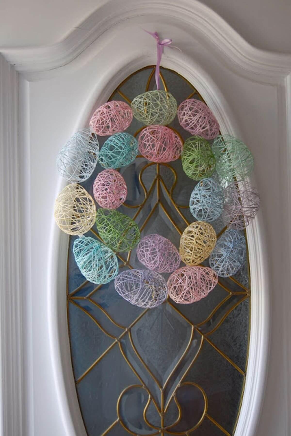 Yarn Art Pastel Egg Wreath