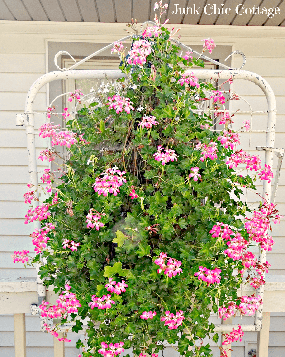 Upcycled Metal Gate for Hanging Flowers