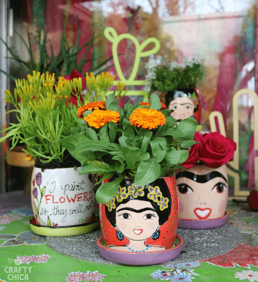 Vibrantly Colored Art Inspired Ceramic Flower Pots