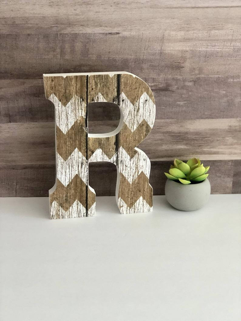 Rustic Theme Wooden Decorative Standing Letter