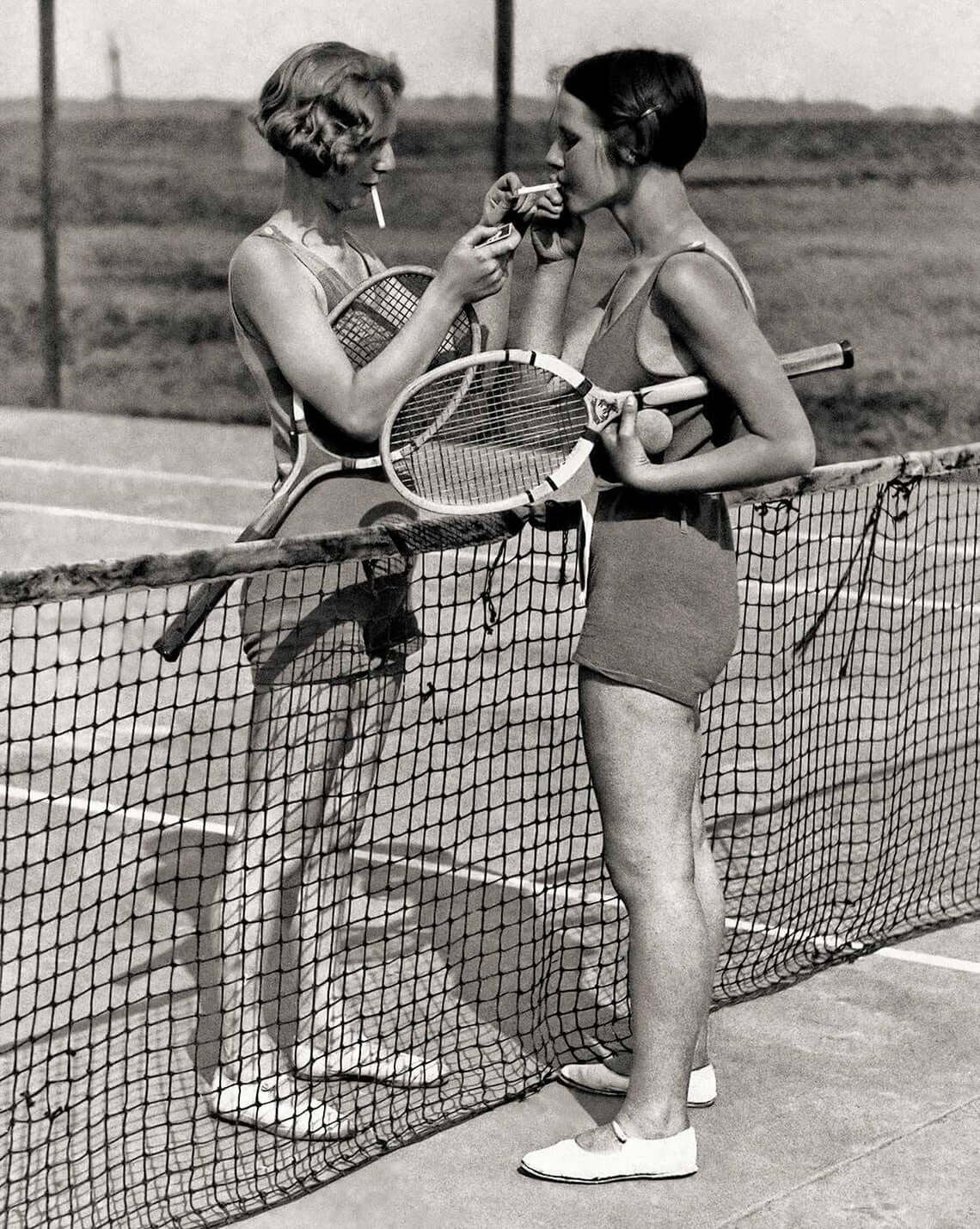 1930s Photograph of Women Smoking & Playing Tennis