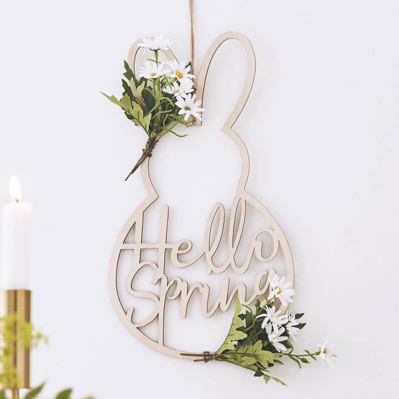 "Bunny-Shaped ""Hello Spring"" Easter Sign Decoration"