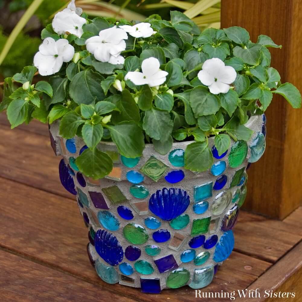 Sparkling Glass Mosaic Flower Pots